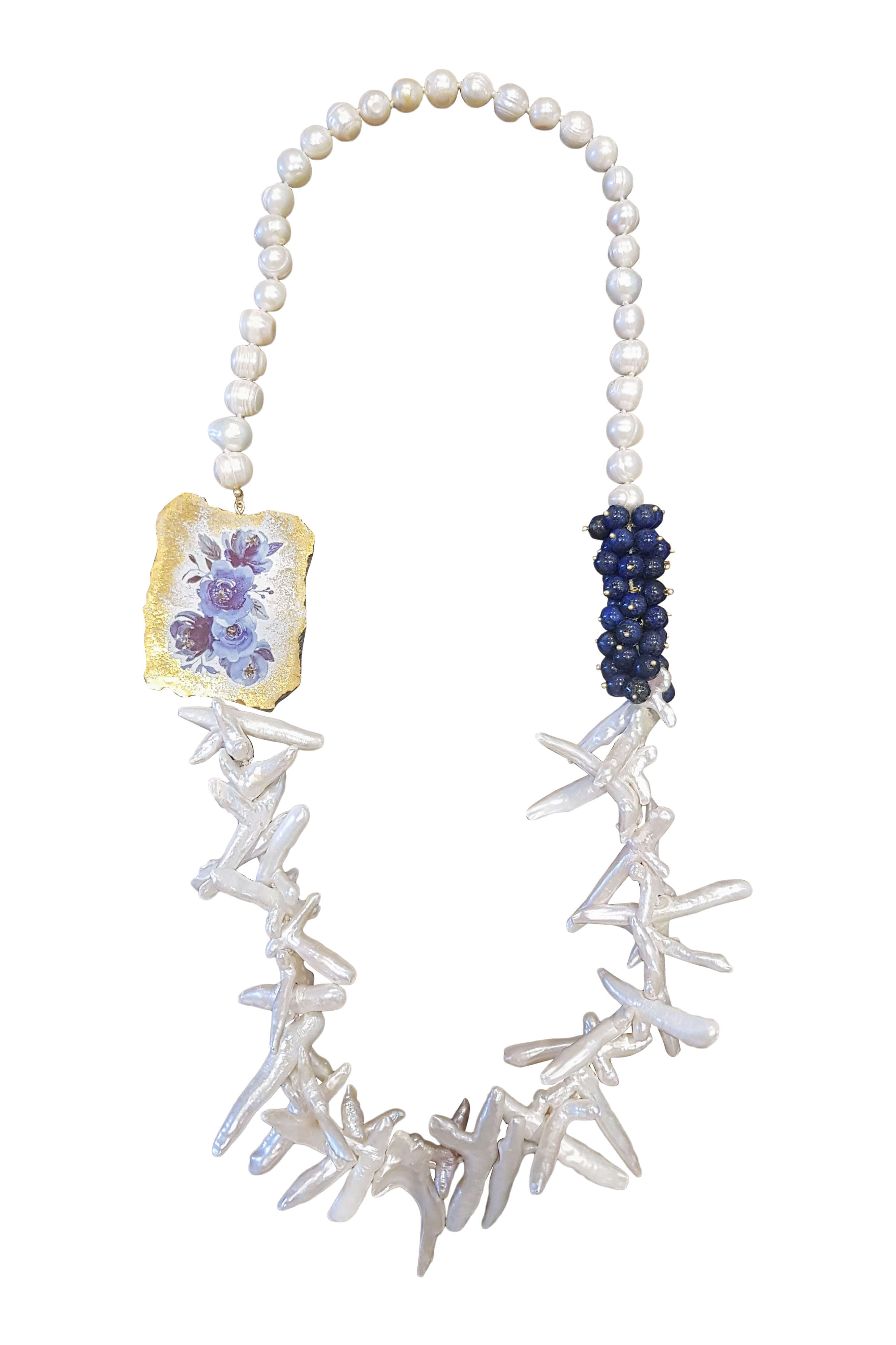 necklace with moss quartz, sweet water pearls, white corals and floral painted ceramics PONZA