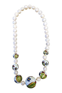 pearl necklace with sweet water pearls and painted ceramics PORTOFINO