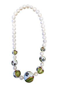 Perlenkette mit Süßwasserperlen und bemalter Keramik PORTOFINO