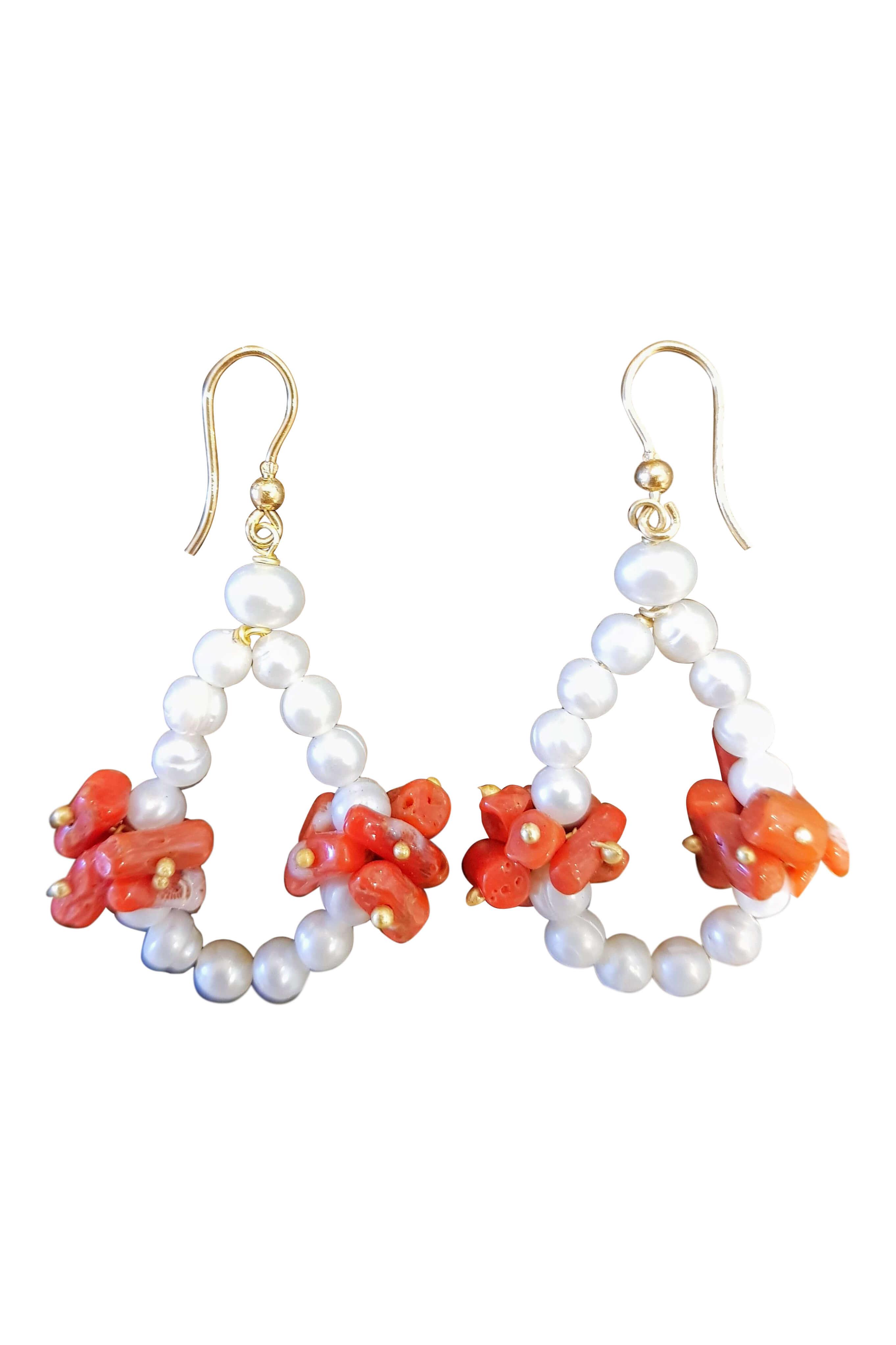 Ohrringe mit Perlen und Korallen AGROPOLI
