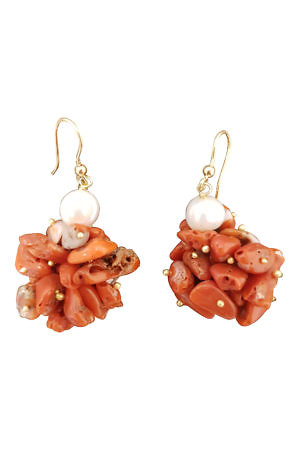 coral earrings with pearls TAORMINA