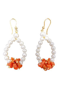 earrings with corals and pearls CETARA