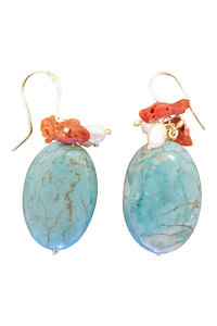 earrings with turquoise, corals and sweet water pearls RAVELLO