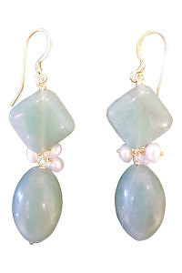 earrings with aventurine and sweet water pearls CALA DI VOLPE