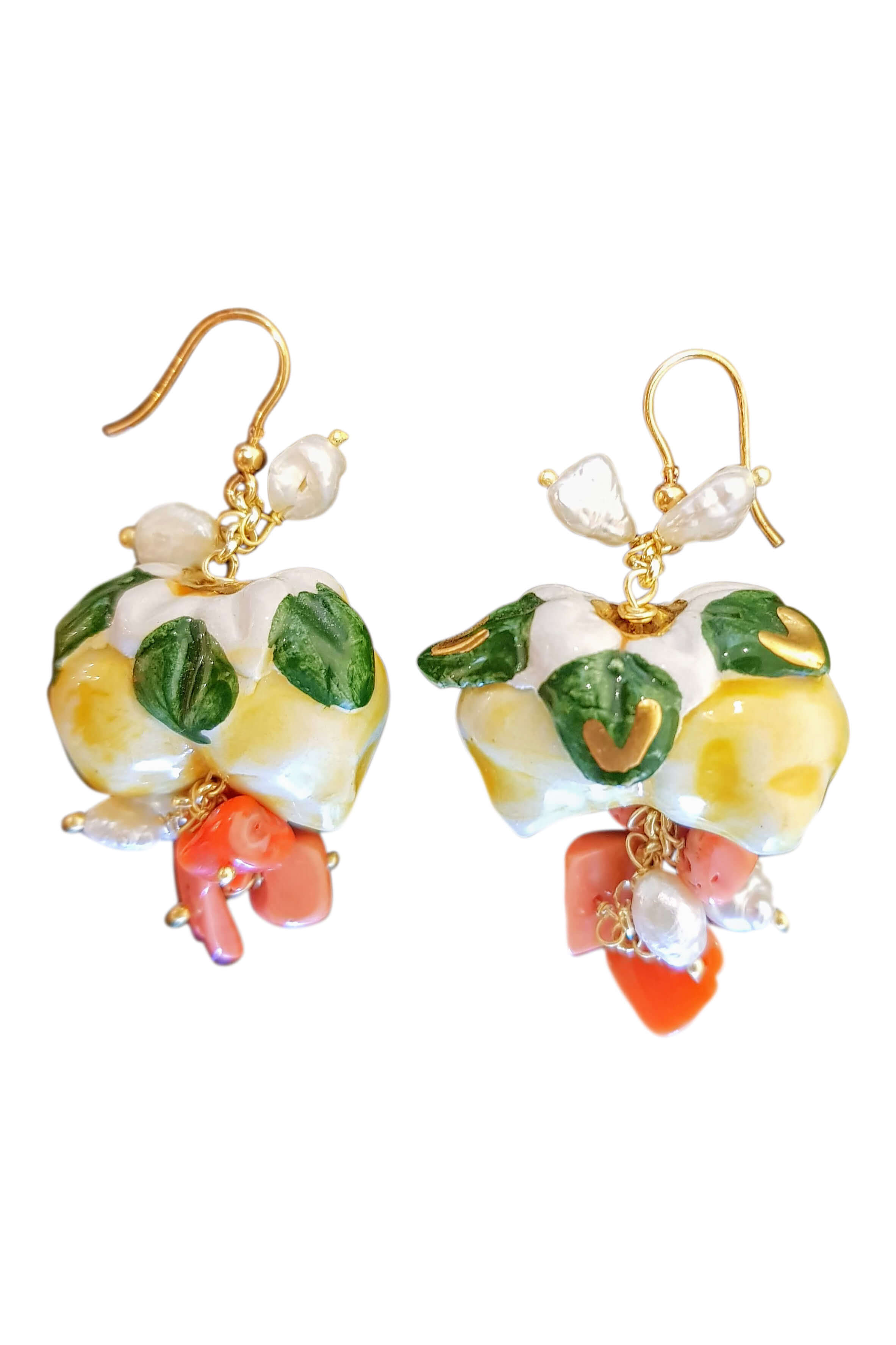 earrings with pearls, corals and lemons in painted ceramics MINORI