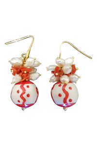 red and white earrings with corals and pearls