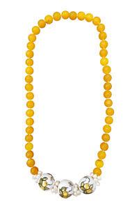 Halskette mit Citrinen, Perlen und Keramik