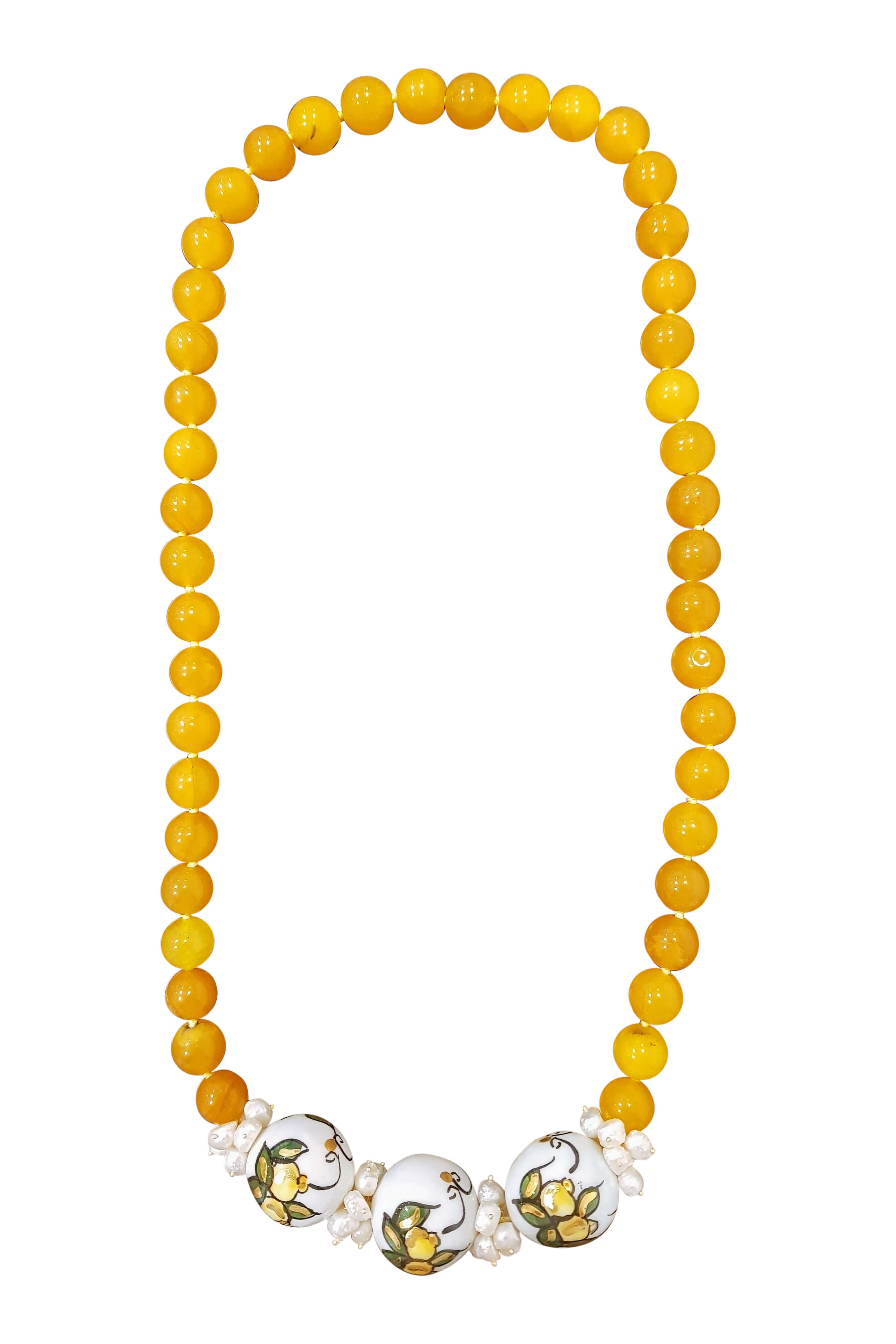 necklace with citrines, sweet water pearls and painted ceramics with lemons ALICUDI