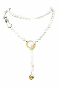 Perlenkette mit Süßwasserperlen und bemalter Keramik RAPALLO