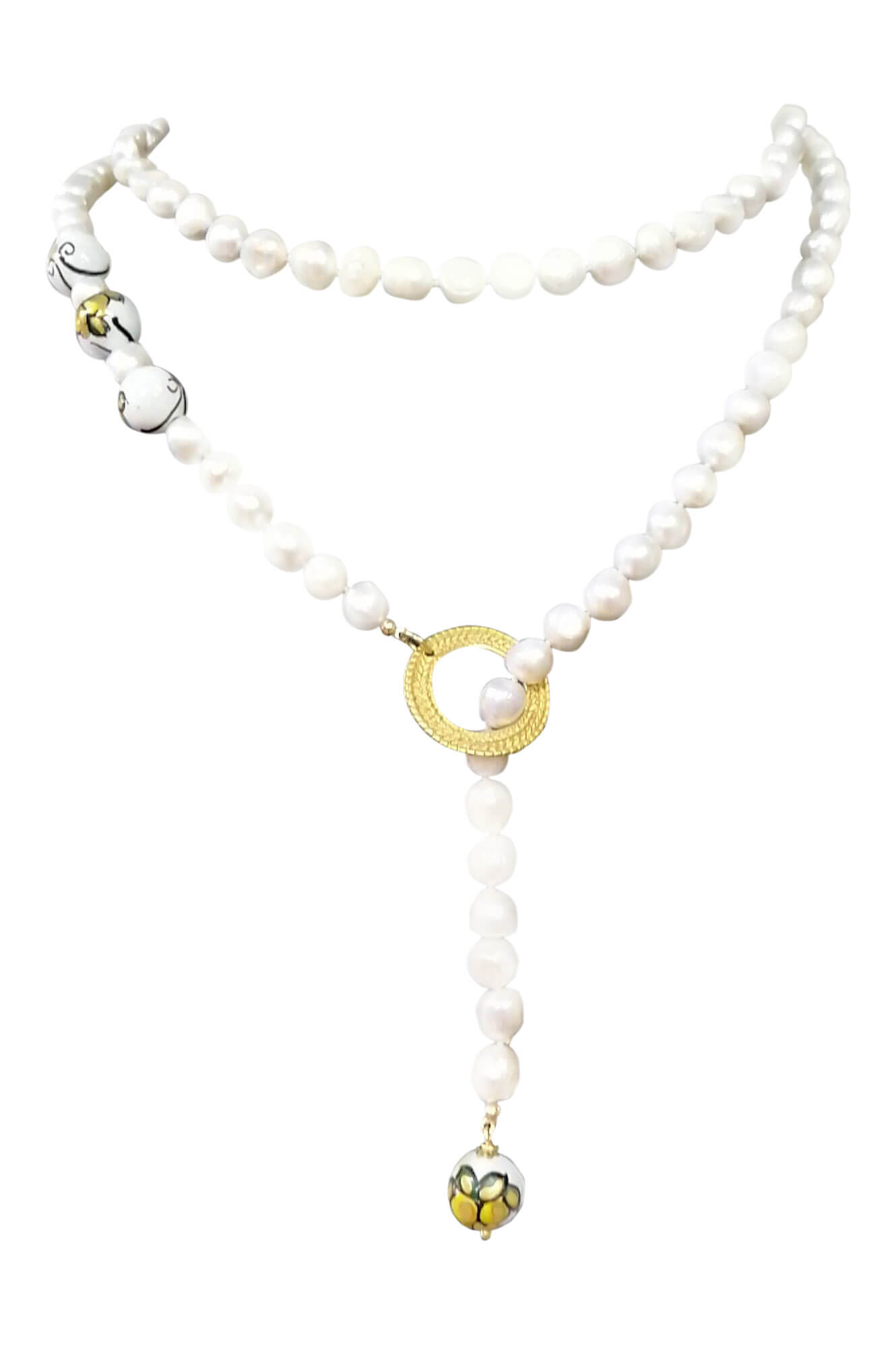 pearl necklace with sweet water pearls and painted ceramics RAPALLO