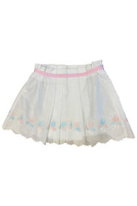 white cotton skirt for girls with pink and blue flowers LOLA