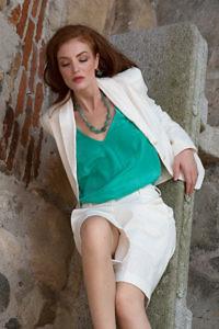 ivory linen blazer   emerald green silk camisole   ecru linen bermudas