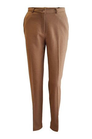 classic trousers in a cognac angora wool blend