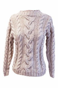 beige alpaca jumper with braids ALENA