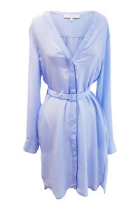 shirtwaist dress DUNJA with V-neck in matte light blue silk