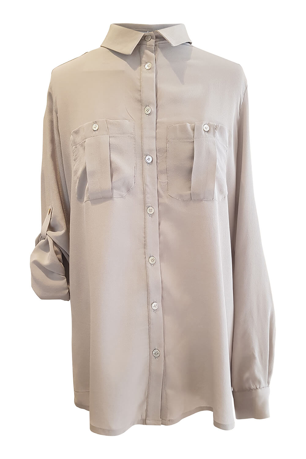 grey silk blouse KATRIN with patch pockets