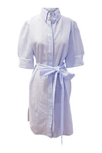 shirtwaist dress in blue and white striped seersucker fabric