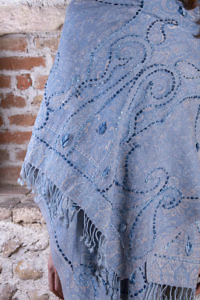blue wool scarf with embroidered paisley pattern