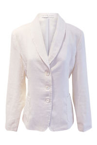 slim fitted ivory linen blazer