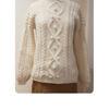 cremeweisser Alpaka-Pullover mit Zopfmuster | ASITA SAHABI