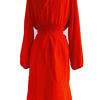 red cocktail dress in light red silk ANAIS