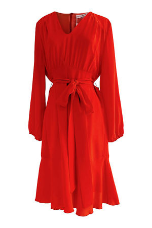 red cocktail dress in light red silk ANAIS | red midi dress