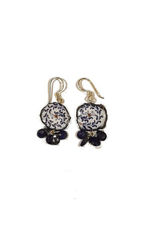 earrings with amethyst and ceramics AZZURRO