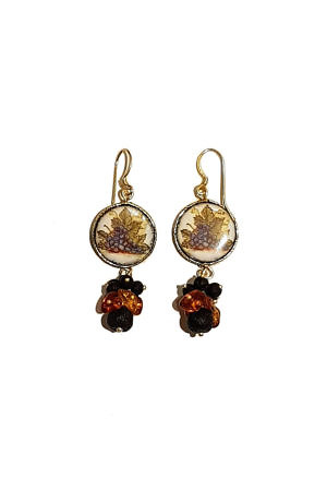 ASITA SAHABI earrings with amber and ceramics on lavastone