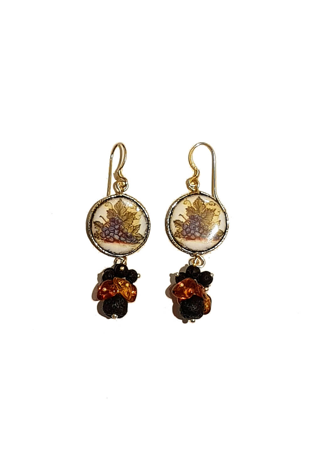 earrings with amber and painted grapes on ceramics UVE