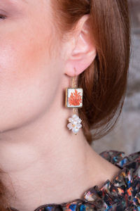 earring with painted corals on lava stone and sweet water pearls