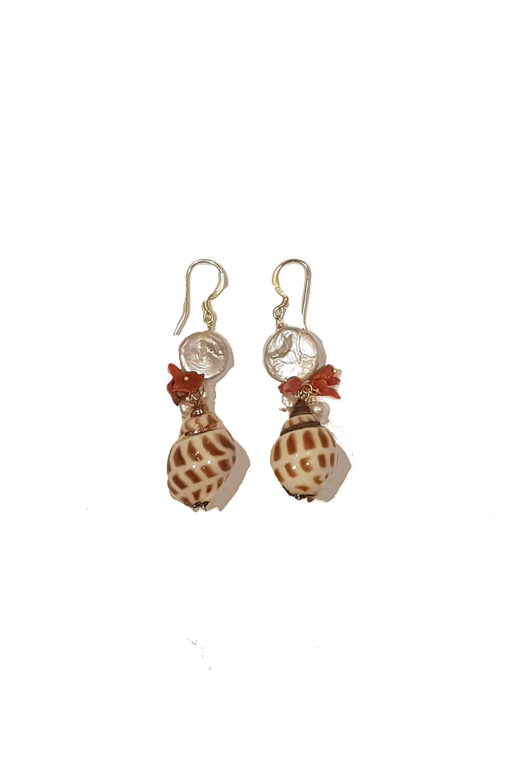 earrings with nacre, corals and shells AMETI