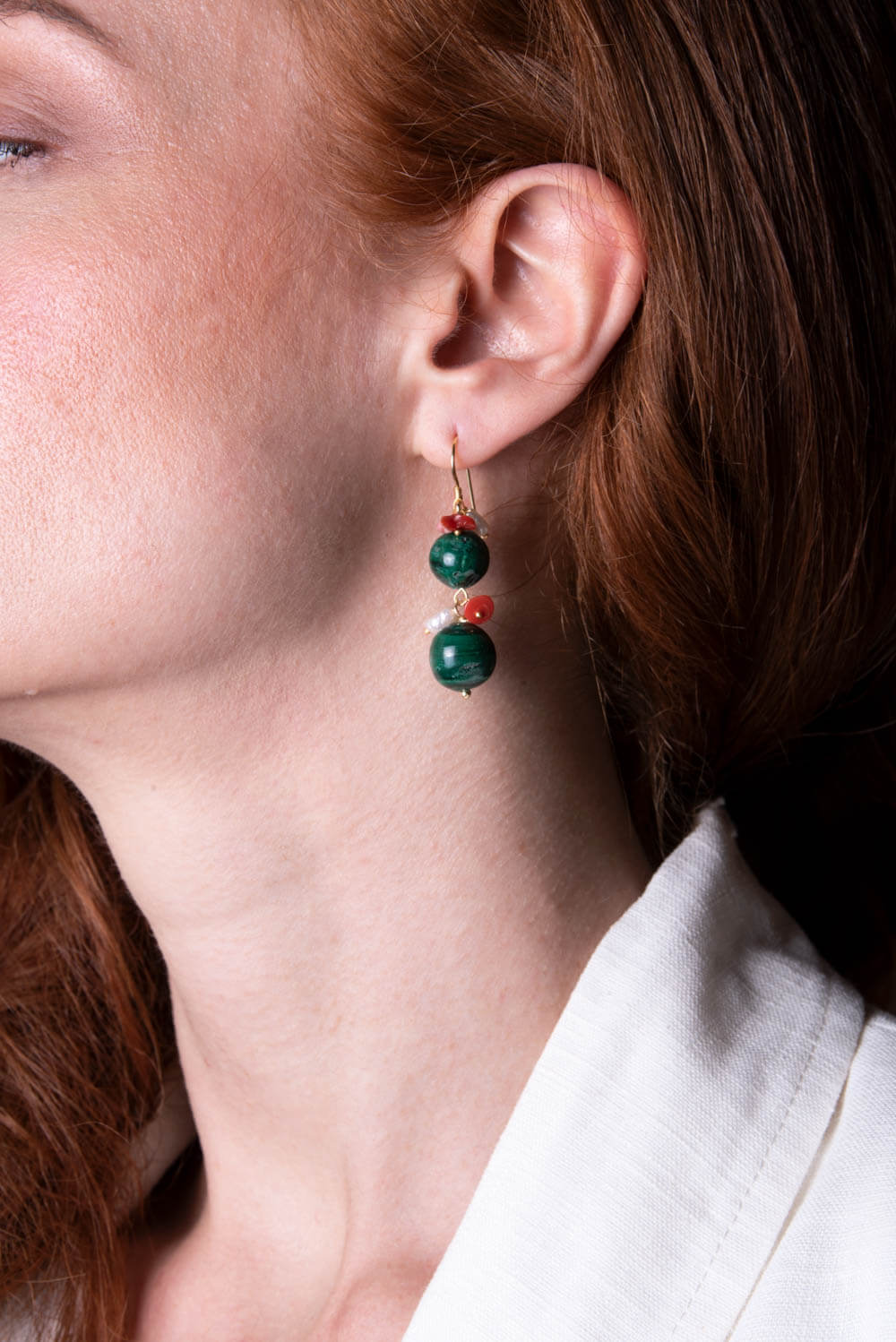 ASITA SAHABI earrings with green agate, corals and sweet water pearls