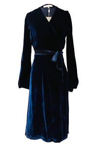 midi wrap dress in midnight blue silk velvet ANINA | dark blue cocktail dress