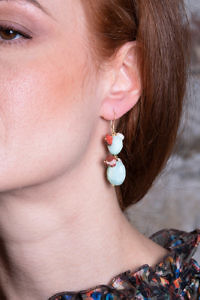 earrings with opal, coral and sweet water pearls CALA DI VOLPE