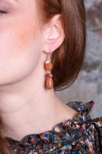 Ohrringe aus Karneol und Perlen MONTEPULCIANO