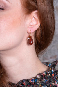 earring with Karneol and pearls