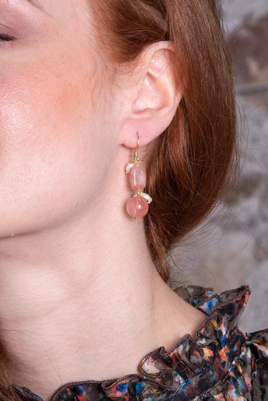 earrings with rose quartz and sweet water pearls ROSA