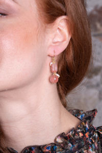 Ohrringe mit Rosenquarz und Süßwasserperlen ROSA