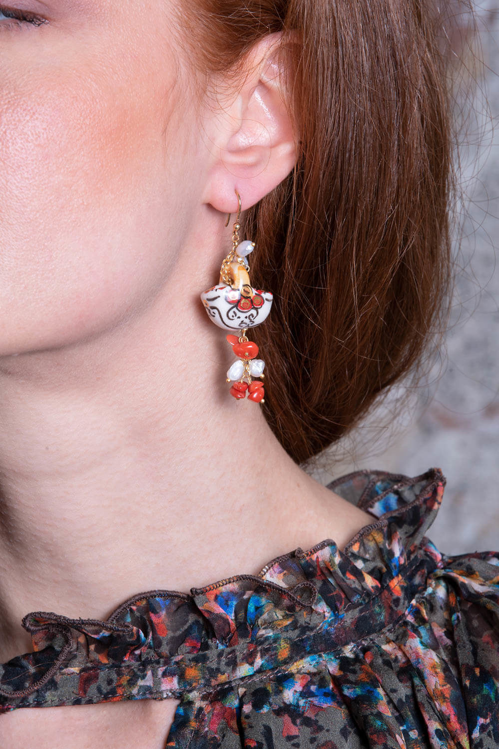 earrings with pearls, corals and painted ceramics PETRA