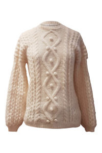 Ivory alpaca pullover with cable pattern GALINA