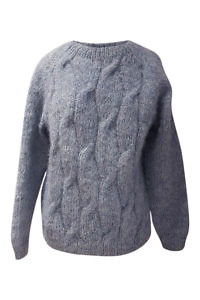 ice blue alpaca pullover with cable knit NELIA