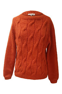 brick red alpaca pullover with cable knit NELIA