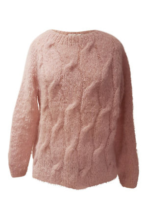 dusty pink alpaca pullover with cable knit NELIA