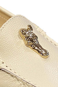Beige AIGNER nappa leather moccasin with a horse head detail