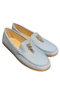 Light blue AIGNER nappa leather moccasin with a horse head detail
