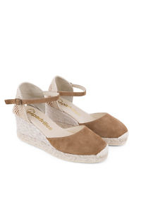 Cognac suede leather toe wedge espadrille sandals