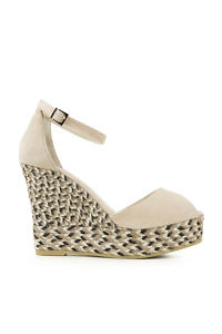 Light beige sued leather wedge espadrilles with multicolored heels SPIGA ANTE CREME