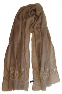 brown cashmere pashmina with beige embroideries