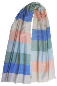Pashmina RAINBOW with block stripes in pastel colors