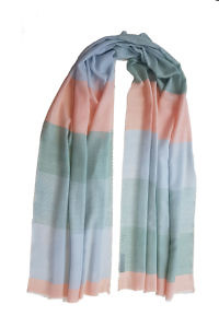 Pashmina MACARON with block stripes in pastel colors